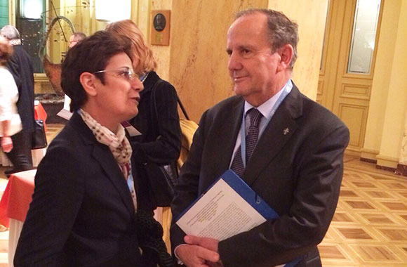 Ms. Suzanne Jabbour with Mr. Juan Mendez, special rapporteur on torture, UN SPT session - Geneva